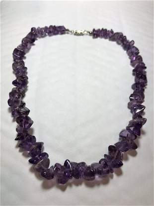 """Vtg Amethyst 17"""" Chunky Bead Fashion Necklace Preowned"""