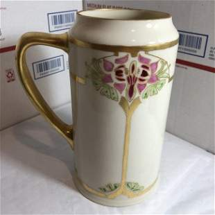 "Vtg Willets Belleek Mug/Tankard Hand Painted 7"" Tall..."