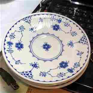 4-Denmark Blue by Mason's & 4-FURNIVALS Saucer Plates