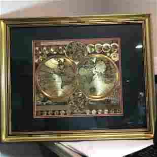 """Vintage GOLD FOIL WORLD MAP DOUBLE HEMISPHERE 25x31"""""""