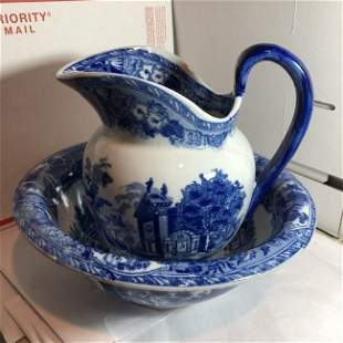 Vtg Victoria Ware Ironstone Flow Blue Pitcher & Bowl...