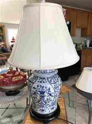 1-Vtg English Blue & White Porcelain Ginger Jar Lamp...
