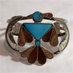 Vtg Lg ZUNI Native American Inlaid Peyote Bird Sterling