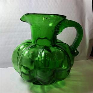 Vintage Emerald Green Hand Blown Early Pitcher Preowned