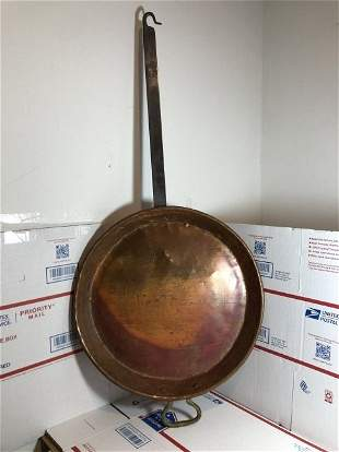 """French 19th Century Era 31.5"""" Tall Copper Shallow Fryer"""