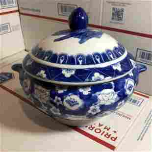 Chinese 20th Century Blue/White Porcelain Covered Bowl