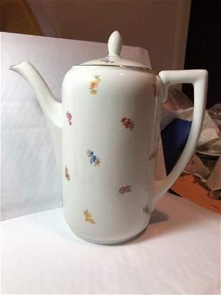 German Reinecke Brand-1796 Flowered Ceramic Coffee Pot