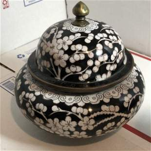 Antique Chinese Black & White Cloisonné Covered Ginger