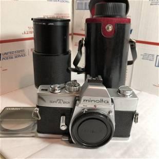 Minolta Model SRT201 35MM Camera w/Vivitar Lens& Tamron