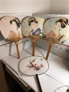 4-Vintage Japanese Bamboo Hand Paddle Fans Preowned...