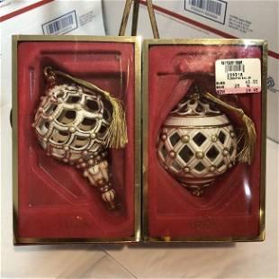 2-Lenox Florentine/Pearl Ball Christmas Tree Ornaments