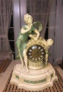 Vtg Heavy French Design Granitex Cherubs Mantle Clock