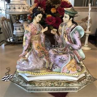 Vtg Huge Asian Courtship w/Butterflies Porcelain Figure