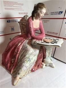 Vintage Ganci Carmelo Signed Ceramic Figurine of a Lady