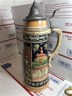 """Vintage West Germany Beer Stein Huge 2 Liter 14"""" Tall"""