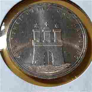 GERMANY 1989-J Silver Hamburg Commemorative 10 Mk Coin.