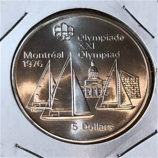 Canada 1973/76 5 Dollars Olympic Montreal 1976 Silver..