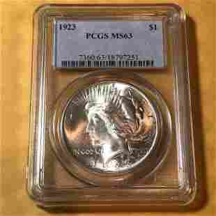 PCGS CERTIFIED 1923-P MS63 PEACE SILVER DOLLAR..