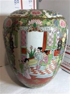 Vtg Ginger Jar Verte Asian Chinese Family Hand Painted.