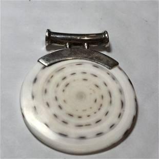 Vtg Asian White Jade/Jadeite Disk Pendant w/Sterling...