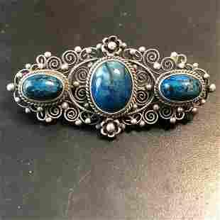 Antique .800 Silver Lapis Stone Filigree Pin/Brooch...