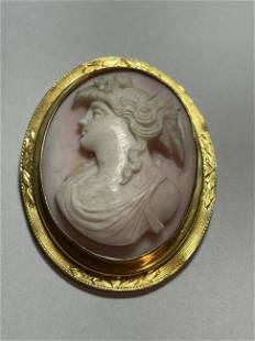Antique 10k Coral Cameo Pin Preowned from an Estate...