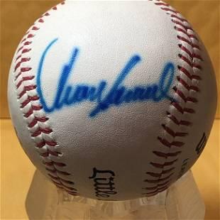JUAN SAMUEL Autographed Baseball as Pictured...