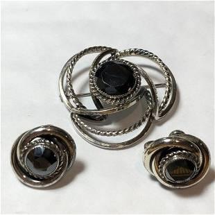 Vtg Danecraft Sterling Silver Hematite PIN w/Earrings..