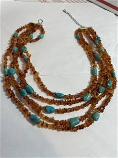 DTR Jay King Amber & Turquoise 5 Strand Bead Statement
