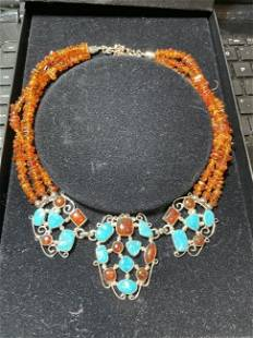 DTR Jay King Amber & Turquoise 3-Strand Bead Statement