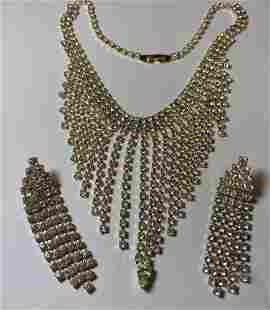 "Vintage Fashion Rhinestone Draped Necklace 15"" Choker.."