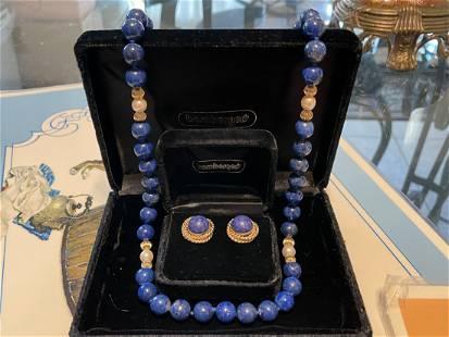 "Never Worn Lapis Lazulli & Pearl 14k 9.5mm 24"" Necklace"