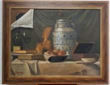 American Art / Ralph Going - Oil Canvas Rare Still Life
