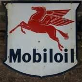 Super Rare MOBILOIL - Antique Enamel Pegasus Red