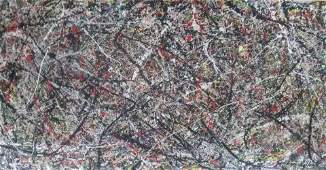 Jackson Pollock - Oil canvas painting Style / Signed
