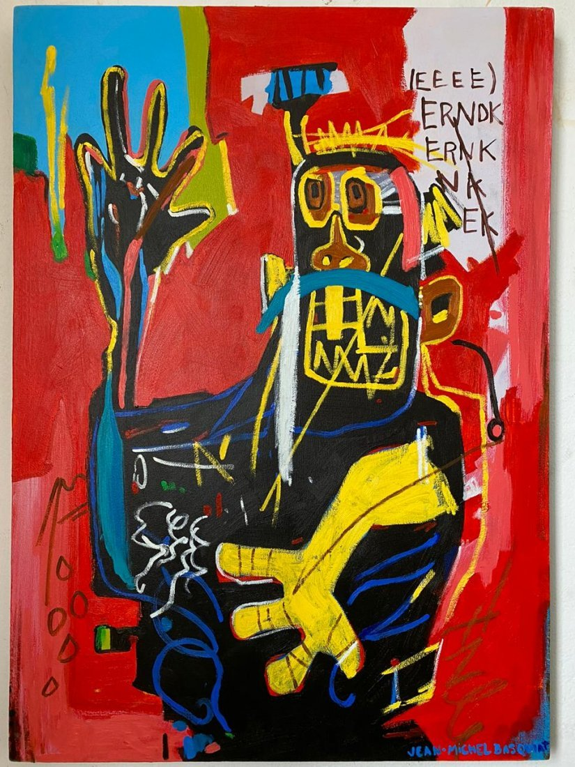 Jean-Michel Basquiat Painting Oil On Canvas Signed