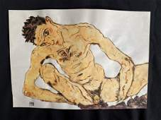 Egon Schiele (Watercolor on Paper) In the Style of