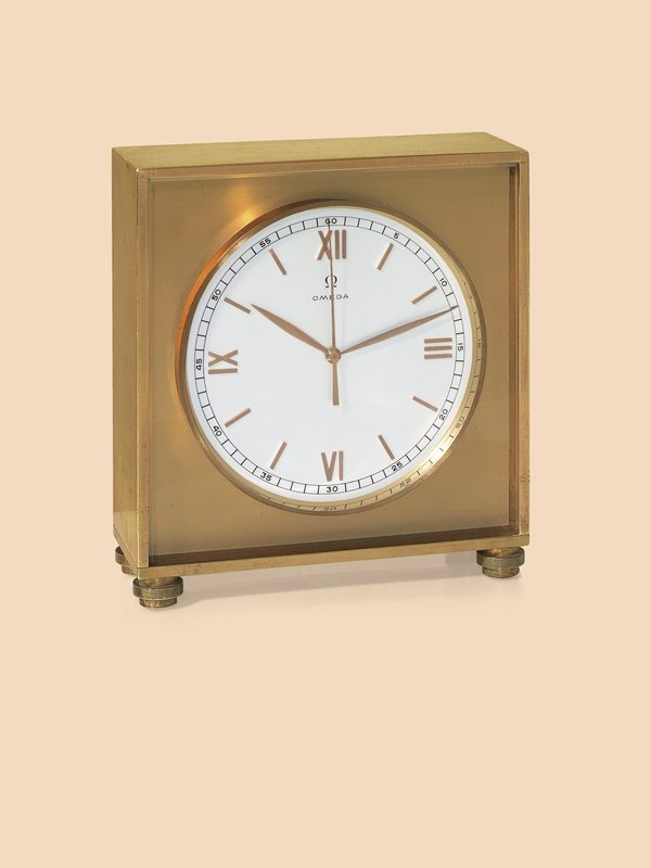 2: Omega, circa 1945 brass desk clock