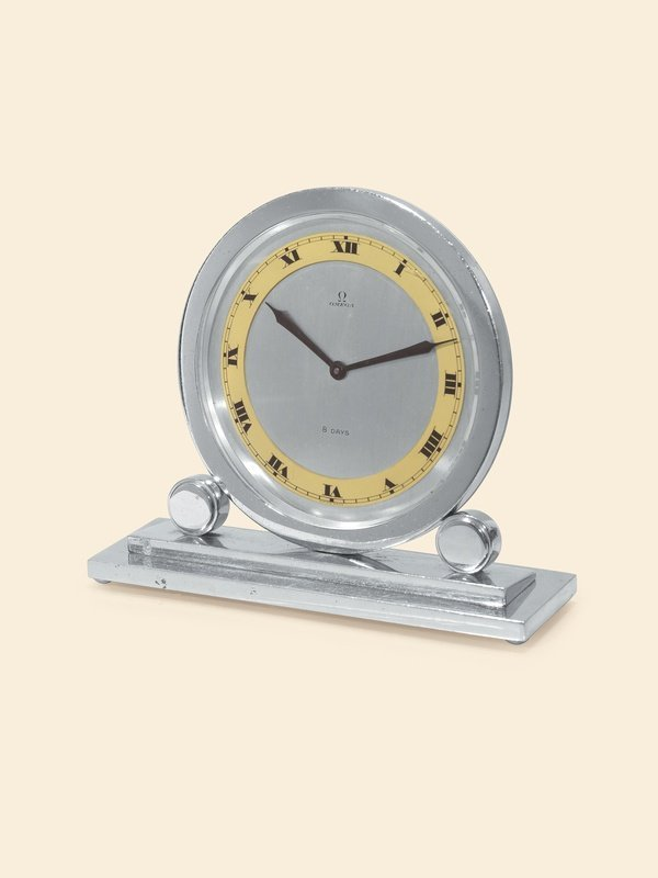 3: Omega, circa 1925 chrome Art Deco desk clock