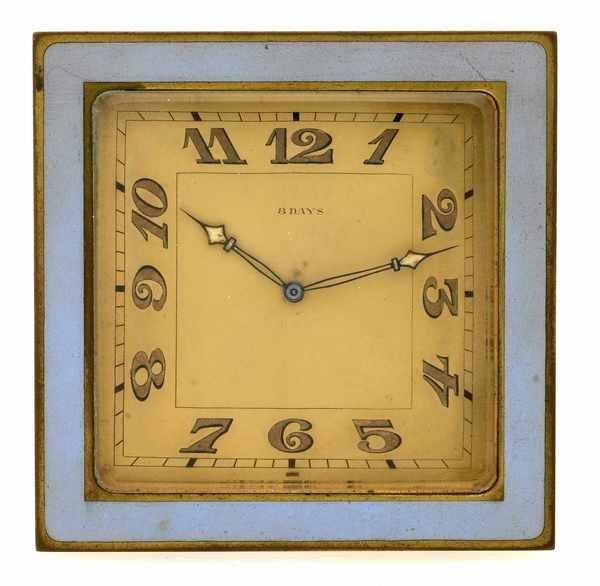 12: Goldschmidt Didisheim Brass Enamel Desk Clock