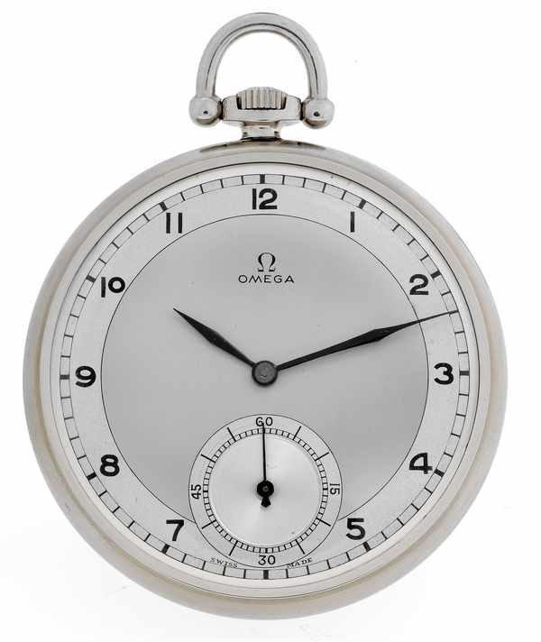 14: Omega Vintage Pocketwatch Art Deco c 1940 Steel