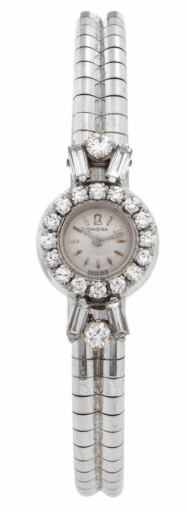 22: Omega Ladies Diamond Bracelet 18K White Gold 60s