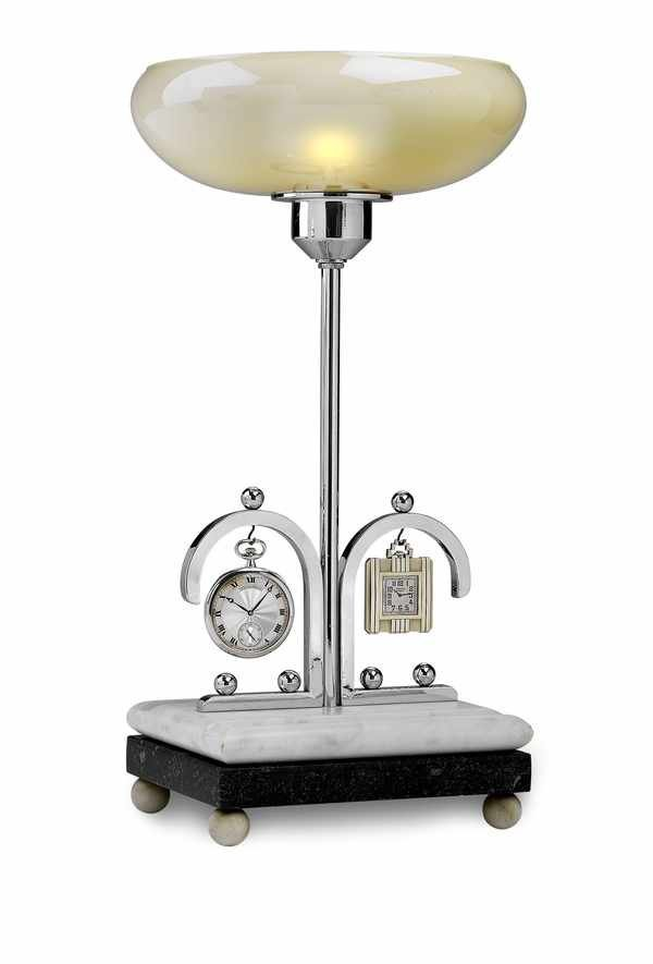 5: German Chrome and Marble Desk Lamp Clock