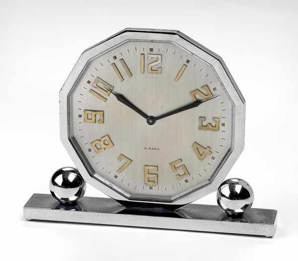 6: Omega Chrome Art Deco 8 Day Desk Clock c 1925
