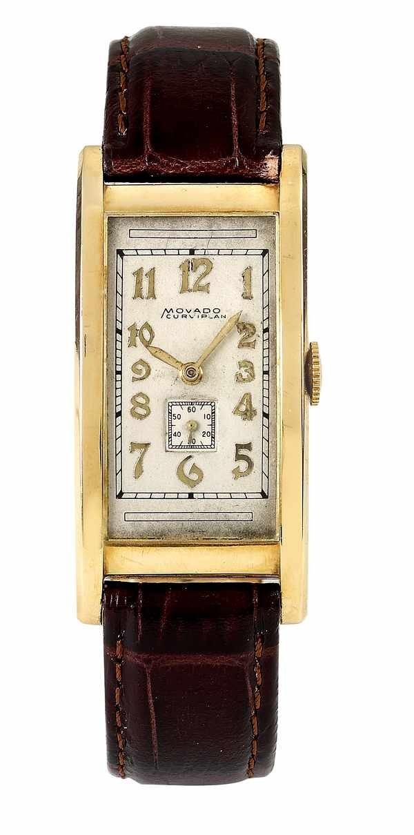 131: Movado Curviplan Rectangular Watch 18K ca 1940s