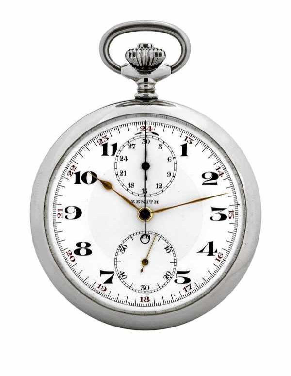 193: Zenith Staybrite Pocket Watch Chrono Steel 1935