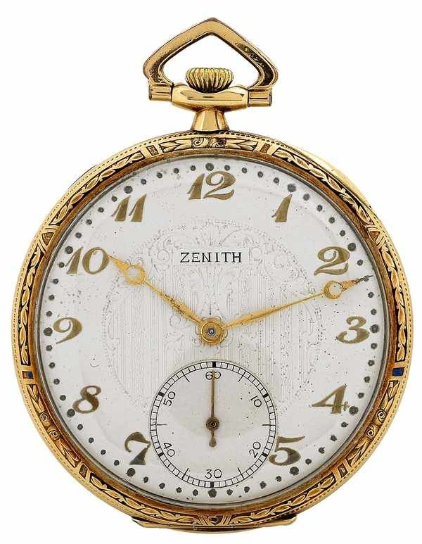195: Zenith Vintage Pocket Watch Art Noveau 18K 1930s