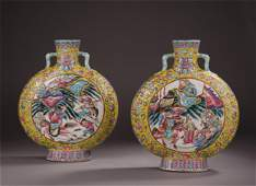 PAIR OF CHINESE PORCELAIN YELLOW GLAZE FAMILLE ROSE