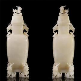 A PAIR OF CHINESE HETIAN WHITE JADE CARVED DRAGON