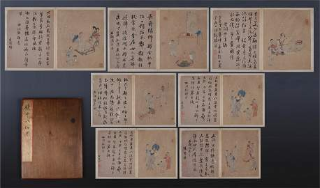 SIXTEEN PAGES OF CHINESE ALBUM PAINTING OF FIGURES WITH